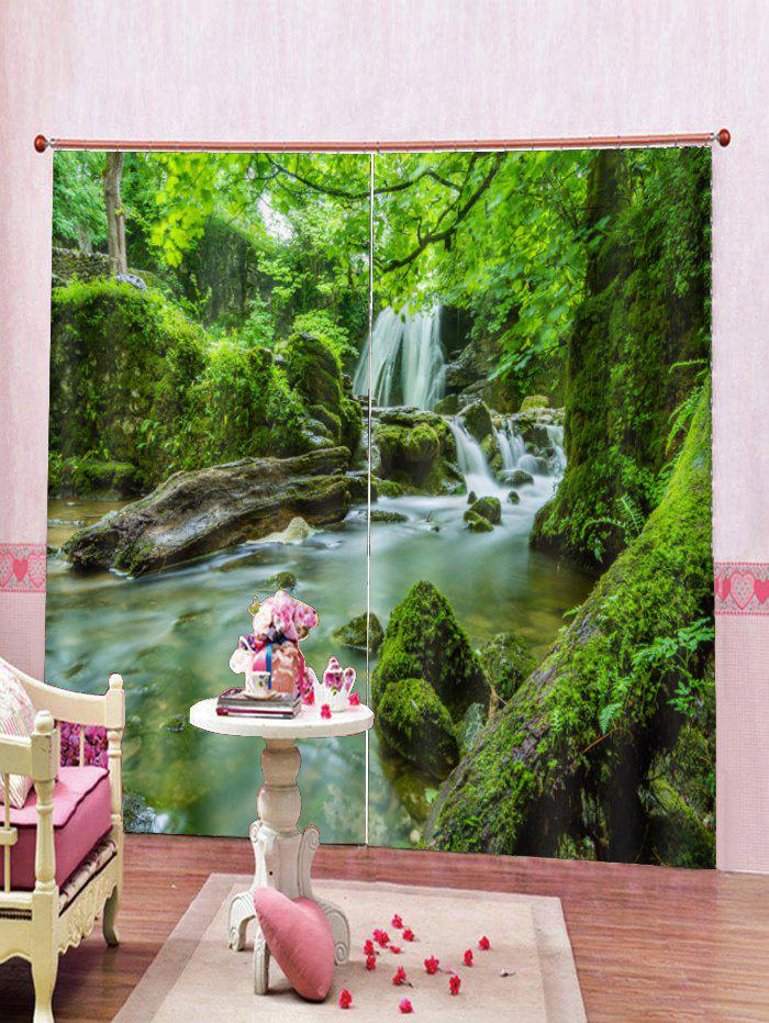 Online 2PCS Water Landscape Printed Window Curtains