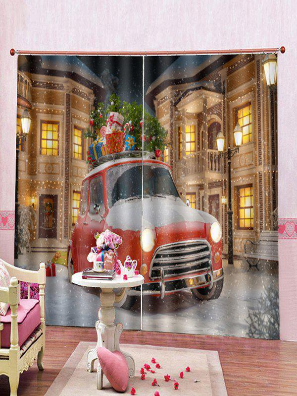 Online 2PCS Christmas Gift Car Print Window Curtains