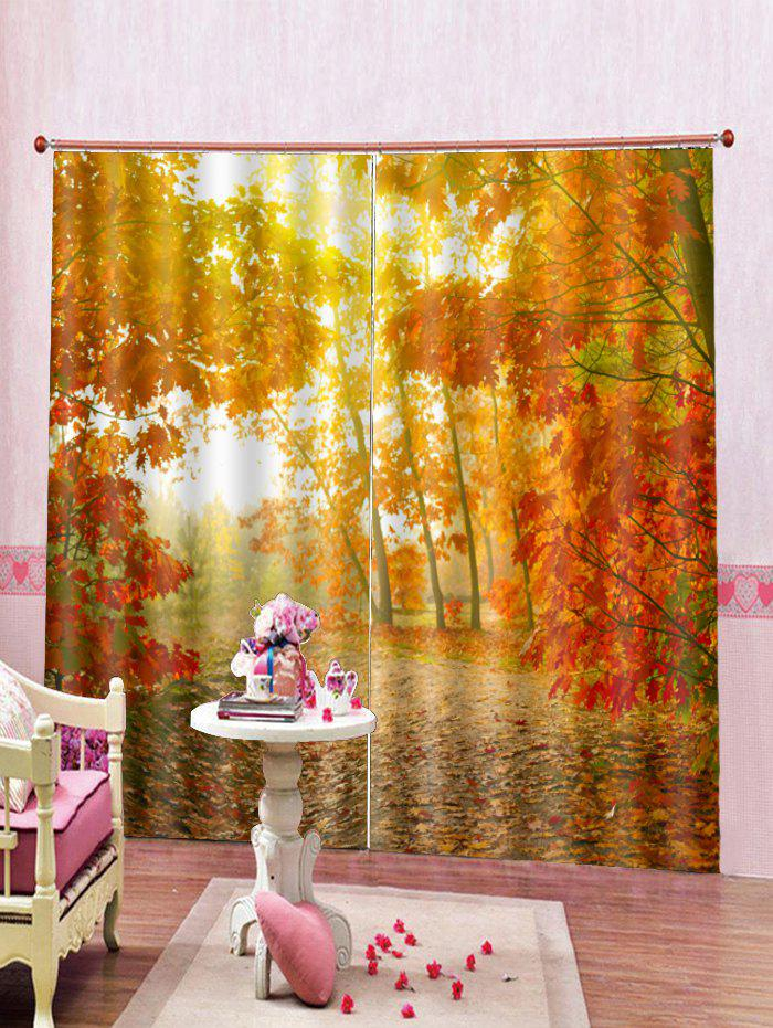 Outfit 2PCS Maple Tree Printed Window Curtains