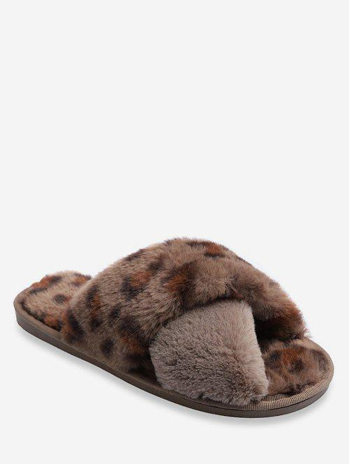 New Leopard Pattern Crisscross Fuzzy Slippers