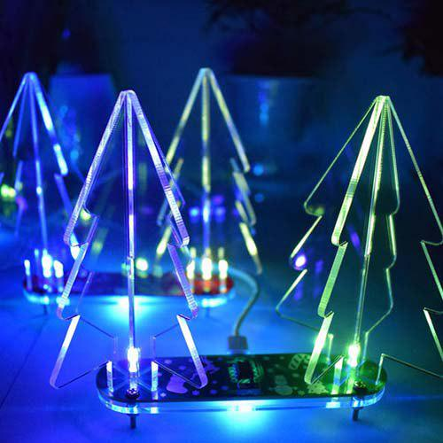 Unique DIY Acrylic 3D Christmas Tree Kit Full Color Changing LED Night Light