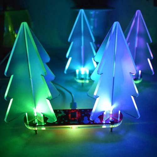 Outfit DIY Acrylic 3D Christmas Tree Kit Full Color Changing LED Night Light