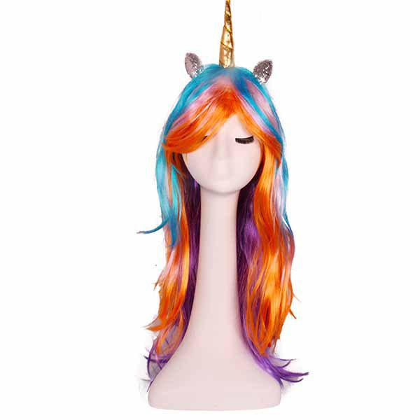 New Rainbow Unicorn Wig Cosplay Anime Decoration Gift