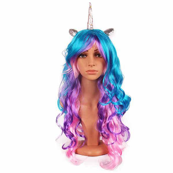 Outfit Rainbow Unicorn Wig Cosplay Anime Decoration Gift