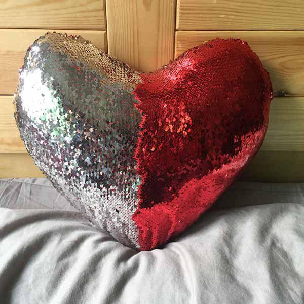 New Mermaid Heart-shaped Sequins Pillow