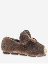 Bowknot Faux Fur Loafer Flats -