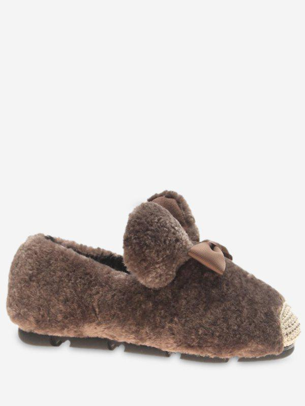 Online Bowknot Faux Fur Loafer Flats