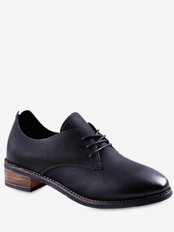 Discount Low Heel Lacing Faux Leather Shoes