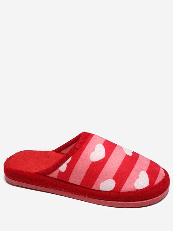 Cheap Striped Heart Pattern Winter Slippers