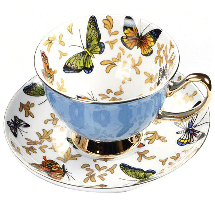 Cheap Coffee Cup And Saucer Set Color Porcelain Butterfly Bone Afternoon Teacup