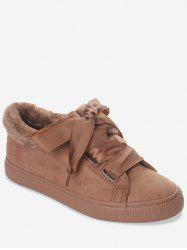 Ribbon Lace Suede Low Top Sneakers -
