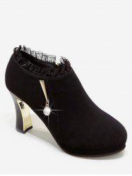 Plated High Heel Ruffle Ankle Boots -