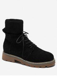 Fold Over Patch Sock Ankle Boots -