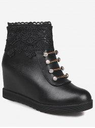 Hidden Wedge Lace Panel Ankle Boots -