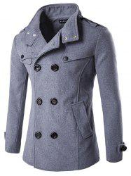 Men Casual Double Button Stand Collar Wool Blend -