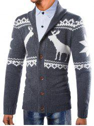 Men Christmas Deer Print Button Comfortable Sweater -