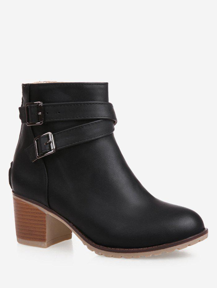 New Plus Size Strap Wrap Stacked Heel Ankle Boots