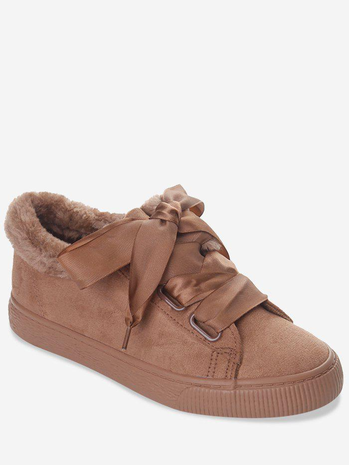 Affordable Ribbon Lace Suede Low Top Sneakers