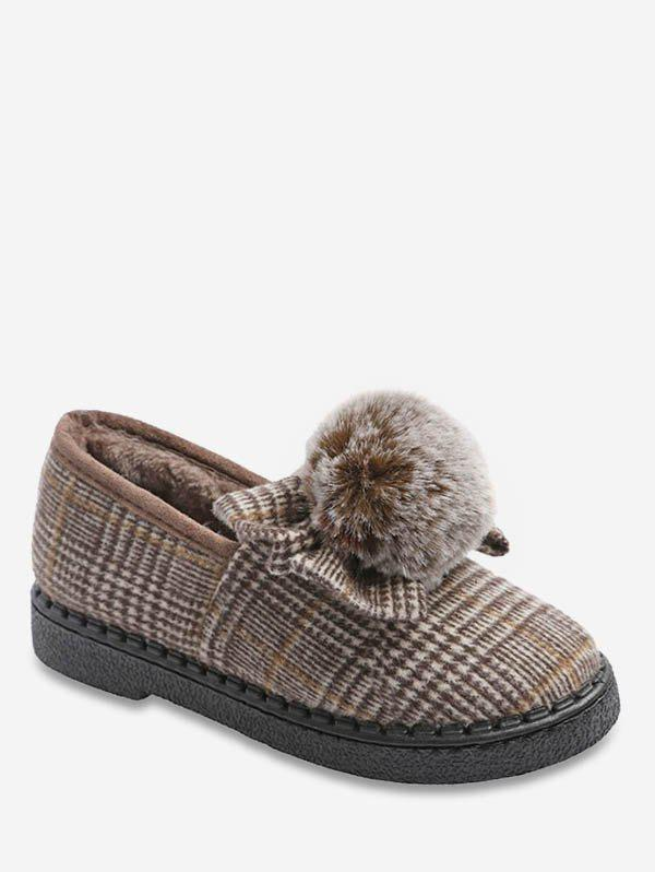 Affordable Fuzzy Ball Bowknot Plaid Flats