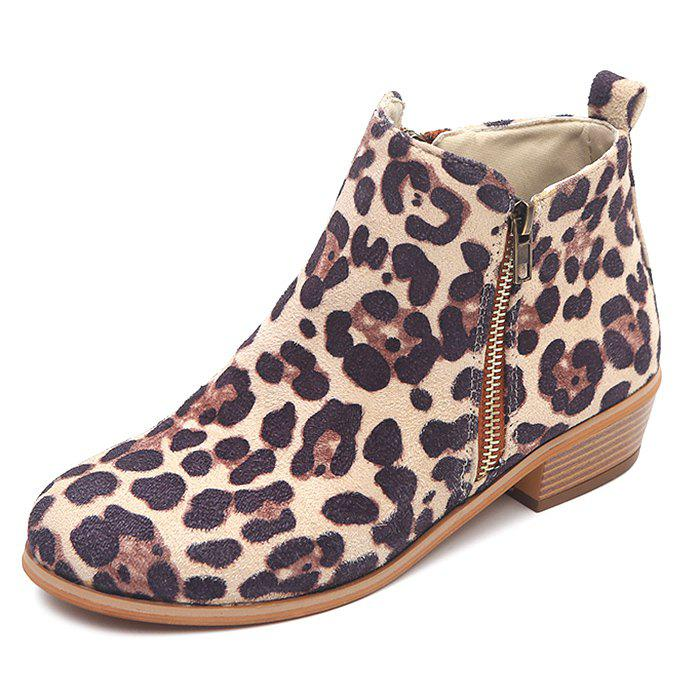 Chic Vintage Thick Large Size Side Zipper Women Boots