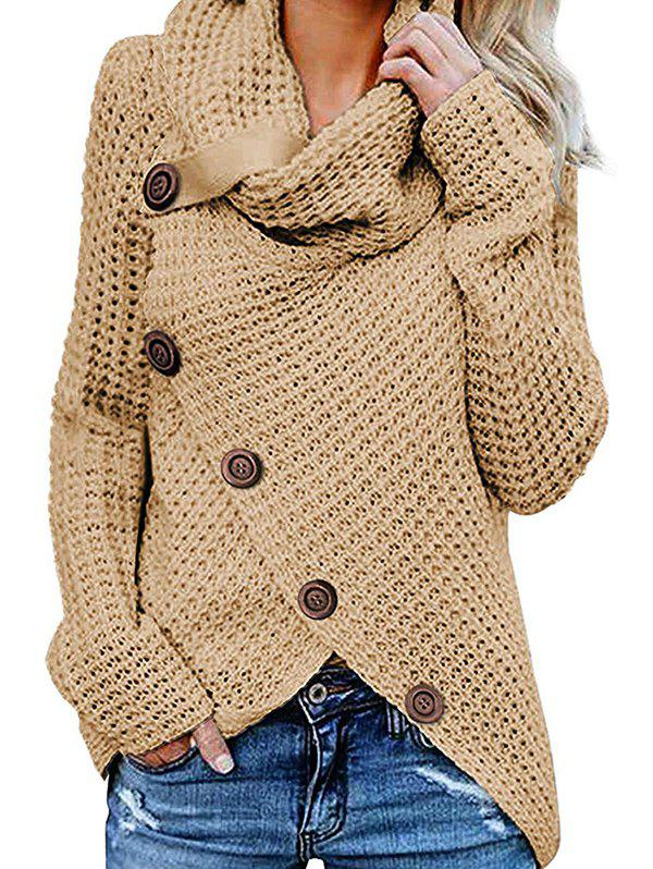 Cheap Five Buckle High Collar Pullover Solid Color Women's Sweater