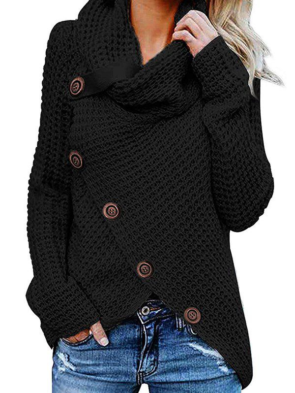 Trendy Five Buckle High Collar Pullover Solid Color Women's Sweater