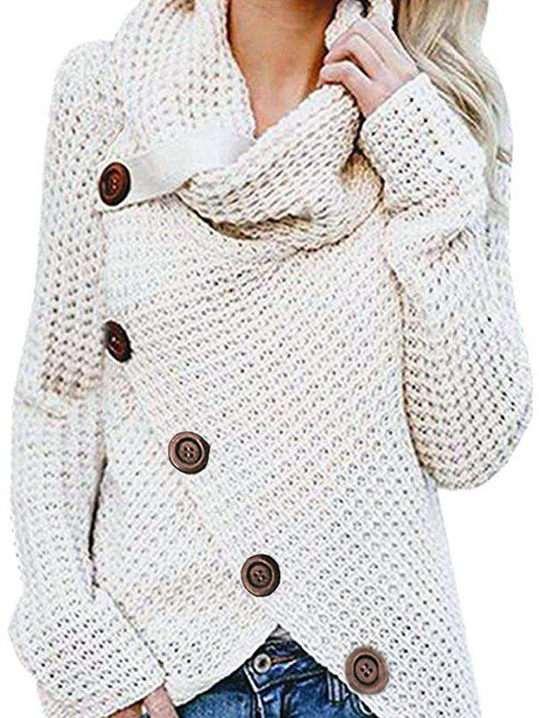 Hot Five Buckle High Collar Pullover Solid Color Women's Sweater