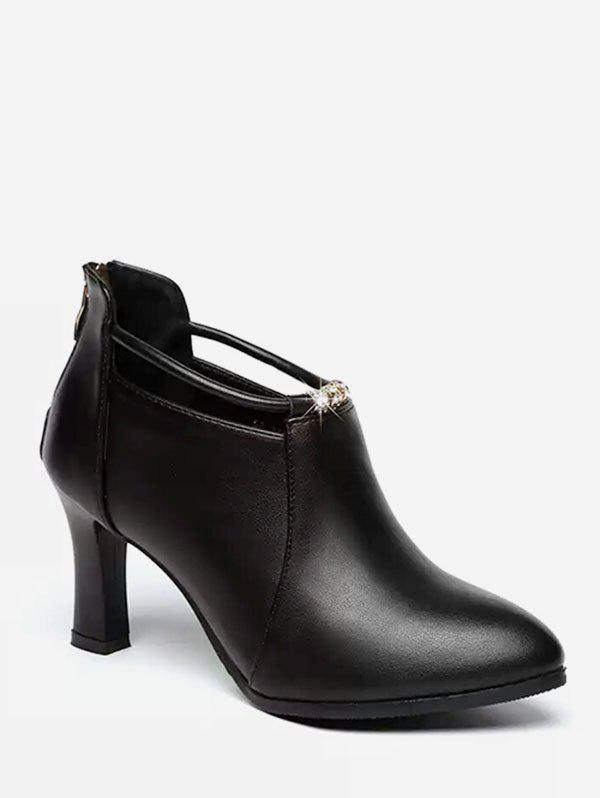 Shop High Heel Cut Ankle Strap Boots