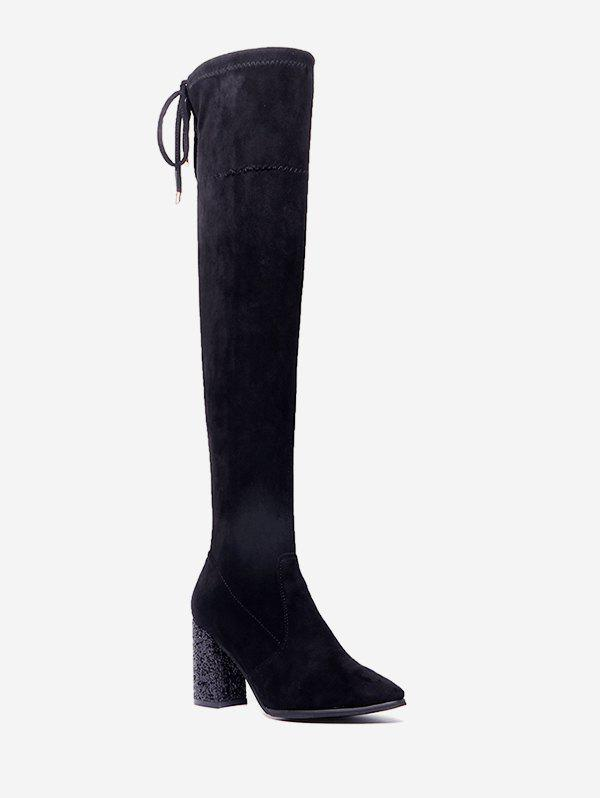 Sale Glitter Chunky Heel Thigh High Boots