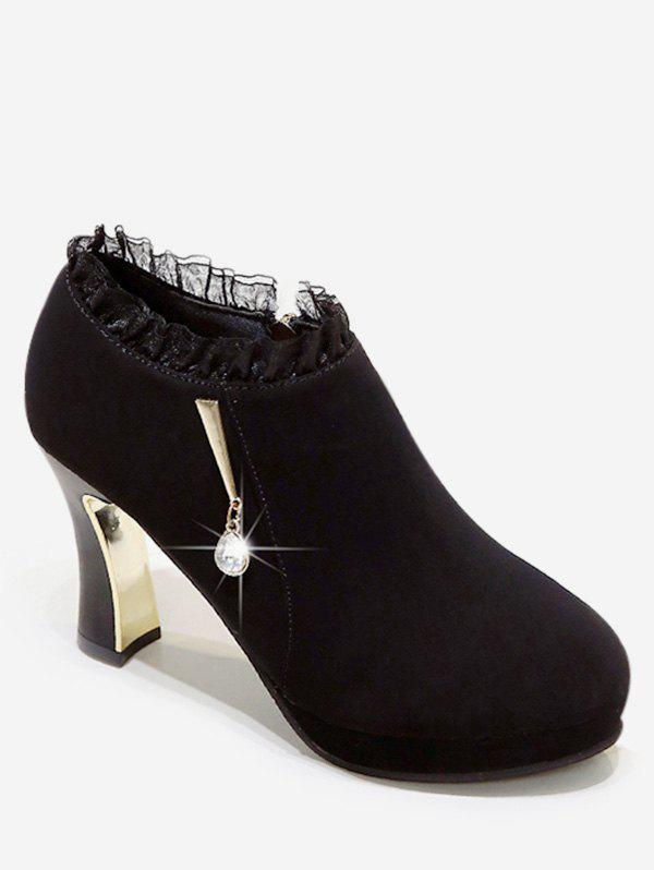 Sale Plated High Heel Ruffle Ankle Boots