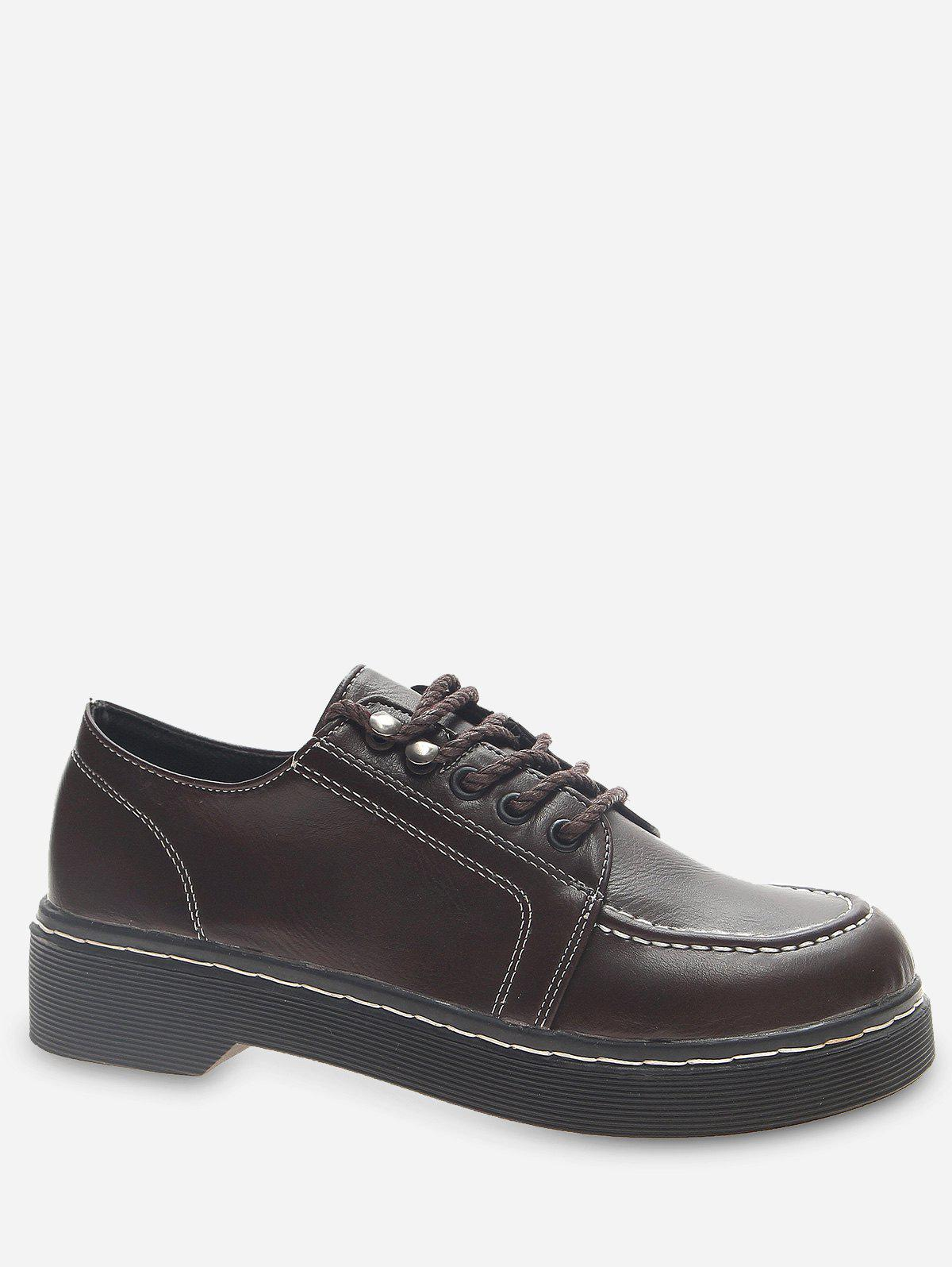 Outfit Moc Toe Faux Leather Lacing Shoes