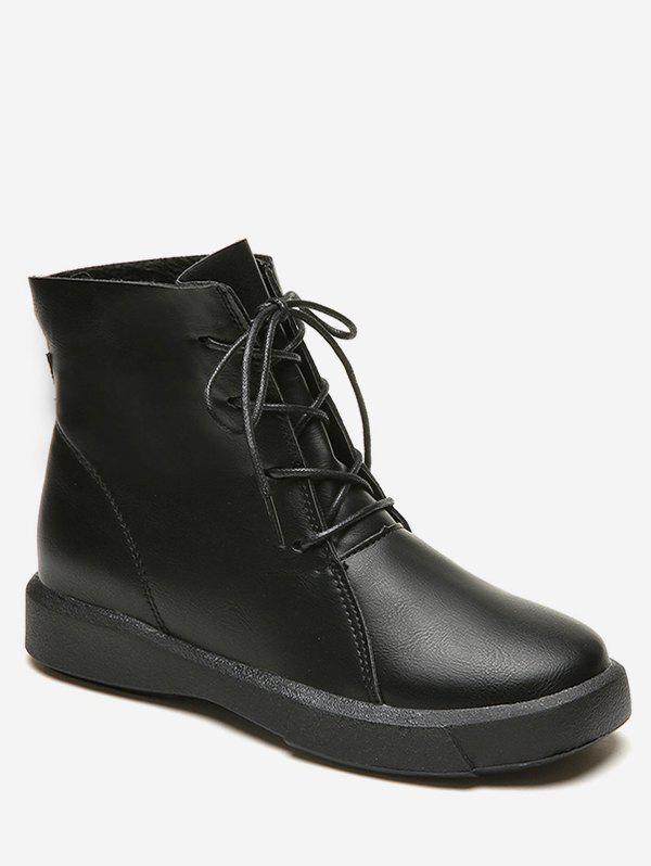 Buy Faux Leather Flat Short Boots