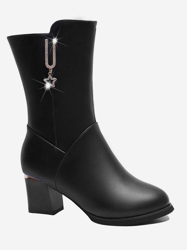 Buy Rhinestone Star Decor Mid Calf Boots