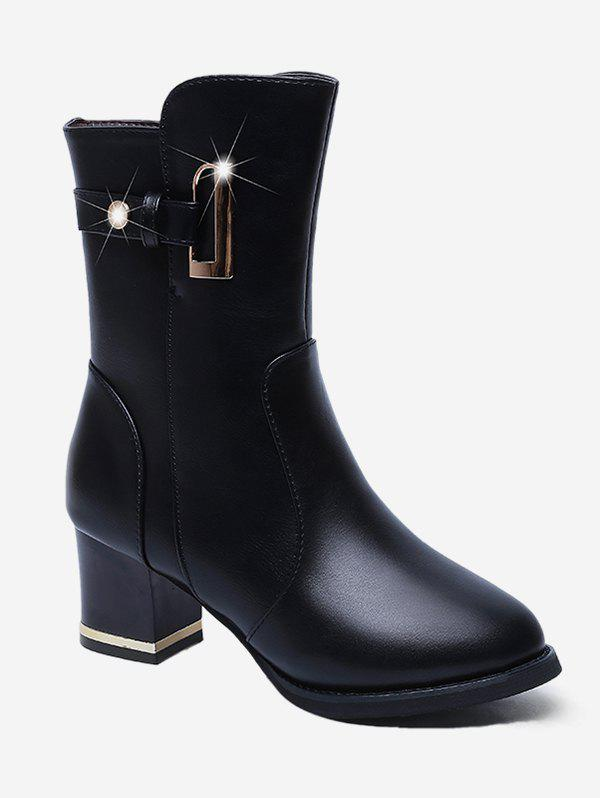 Outfit Chunky Heel PU Mid Calf Boots