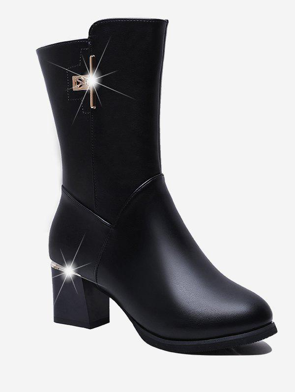 Store Metal Chunky Heel Mid Calf Boots