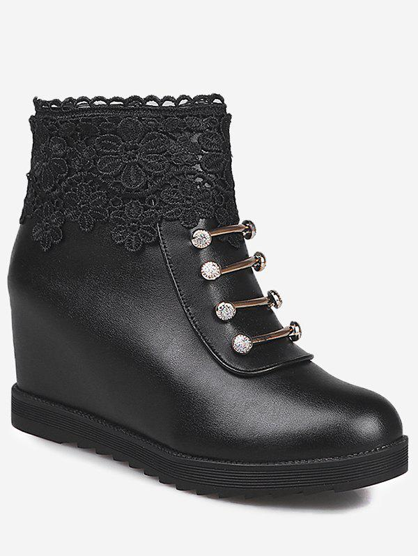 Discount Hidden Wedge Lace Panel Ankle Boots