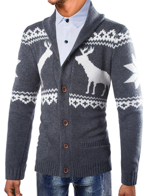 Shops Men Christmas Deer Print Button Comfortable Sweater