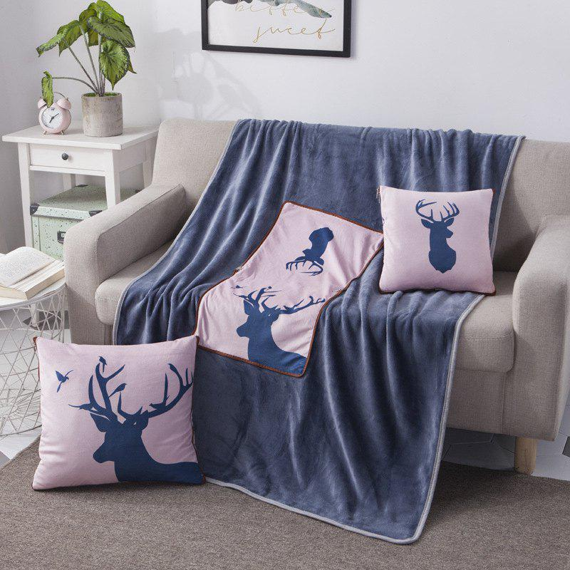 Outfit Dual-use Pillow Quilt Crystal Velvet Multi-function Flannel Blanket Plush Cushion