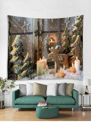 Christmas Tree Candles Print Tapestry Wall Hanging Art Decoration -