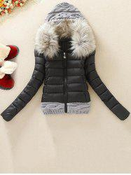 ZSF 494 Knitted Wool Cap Stitching Large Fur Collar Coat -