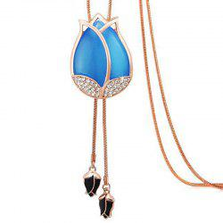 MY - 0009 Tulip Opal Sweater Chain Long Necklace -