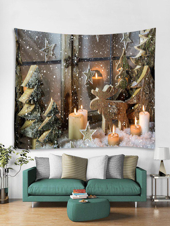 Online Christmas Tree Candles Print Tapestry Wall Hanging Art Decoration