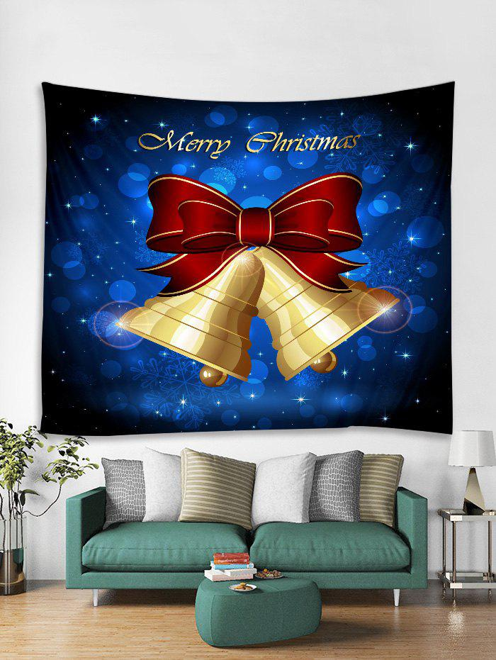 Sale Christmas Bowknot Bells Print Tapestry Wall Hanging