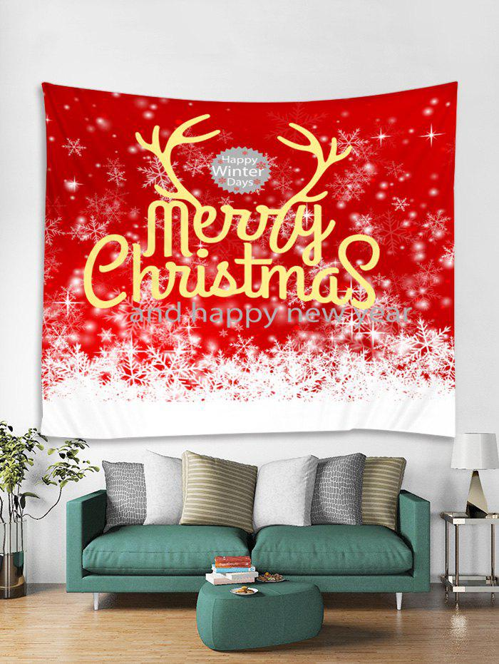 Cheap Merry Christmas Snowflakes Print Tapestry Wall Hanging Art