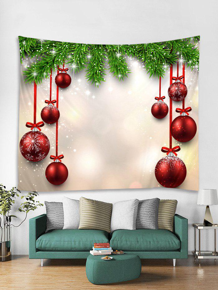 Hot Christmas Bowknot Balls Print Tapestry Wall Hanging Art Decoration