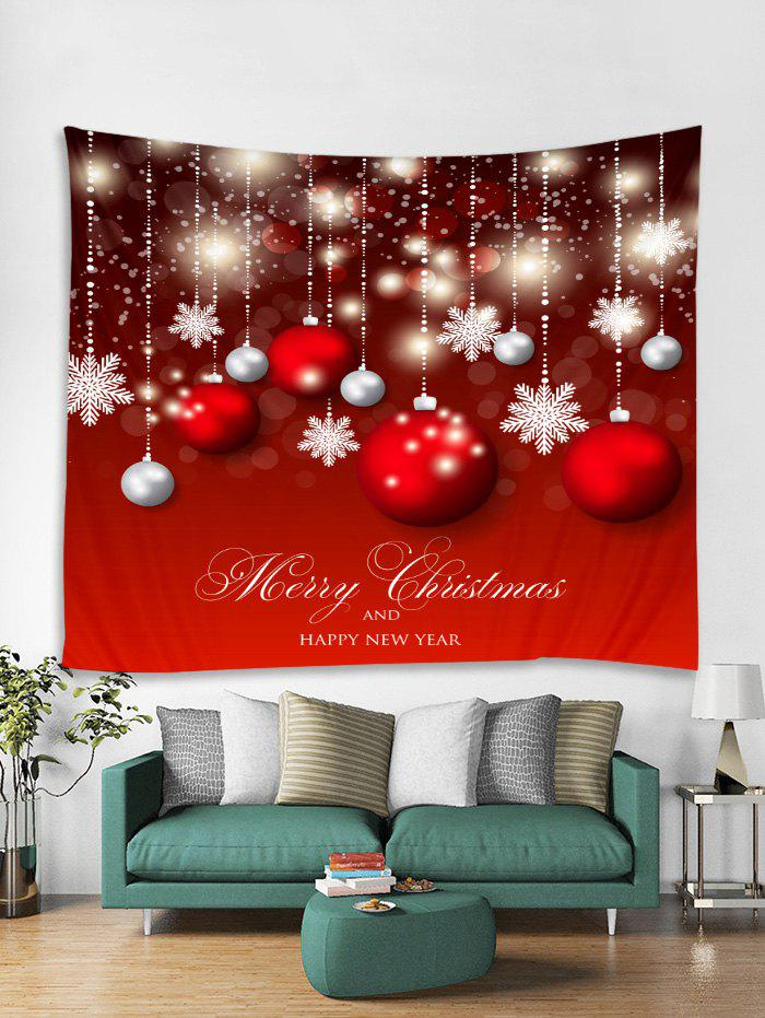 Latest Christmas Balls Snowflakes Print Tapestry Wall Hanging Art
