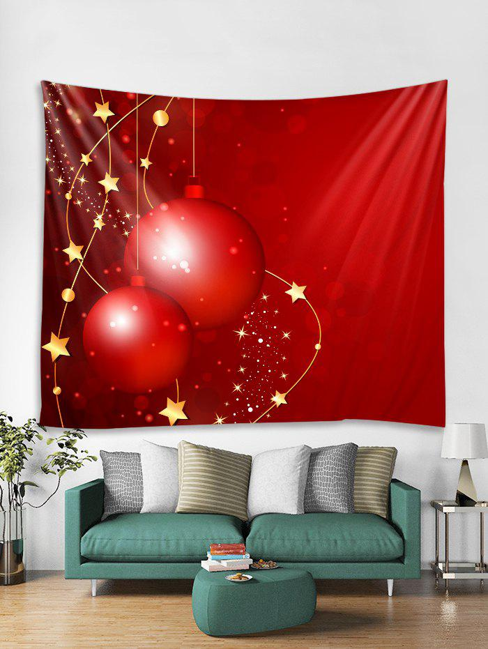 Affordable Christmas Balls Stars Print Tapestry Wall Hanging Art
