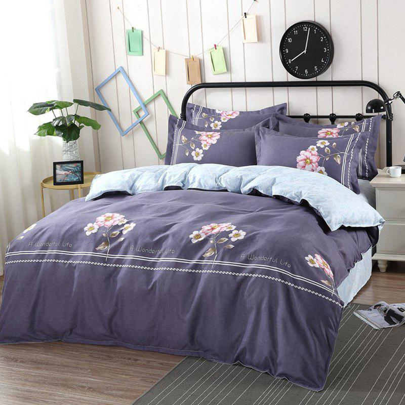 Online AB Version Active Twill Thickening Sanding Four-piece Plant Cashmere Bedding Package