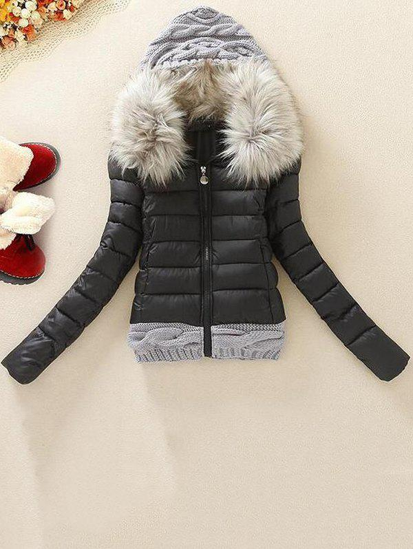 Affordable ZSF 494 Knitted Wool Cap Stitching Large Fur Collar Coat