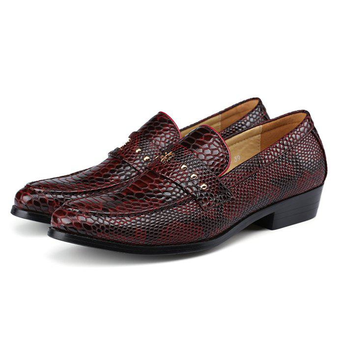 Trendy Men's Leather Shoes Business Casual Low-top Trend Snakeskin Pattern